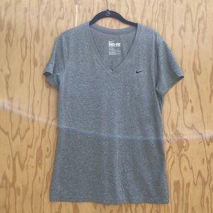 Women's dry fit grey v neck